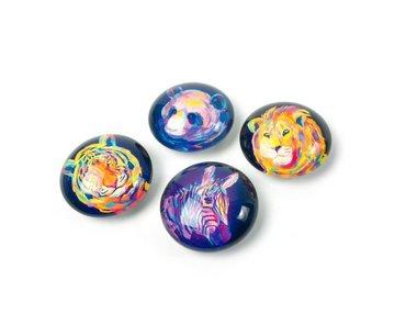 Prachtige dieren magneten 'neonimal' van glas - set van 4 stuks