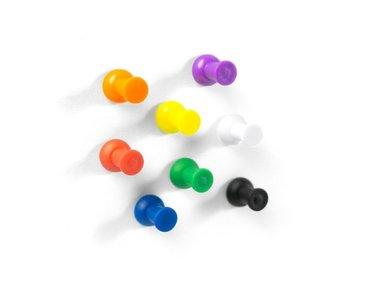 Leuke punaise magneten in verschillende kleuren - set 8 stuks