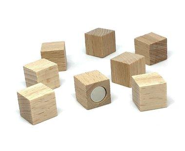Sterke houten magneetblokjes 15 x 15 mm - set van 8 stuks