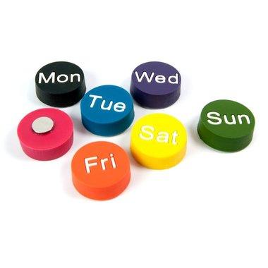 Weekdays magneten van rubber - set van 7 stuks