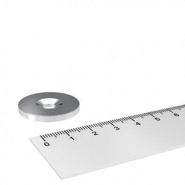 Metalen schijf 27x3 mm met verzonken gat als basis voor magneten