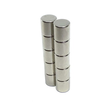 Supersterke cylinder magneten neodymium 10 x 10 mm - set van 8 stuks