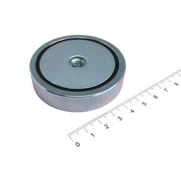 Neodymium Potmagneet 63 mm M10 binnendraad 112 KG gegalvaniseerd