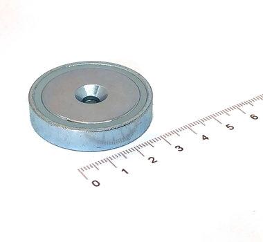 Neodymium Potmagneet 40 mm verzonken gat 50 KG gegalvaniseerd