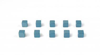 Kubus magneten Kubiq - Blue - set van 10 blauw metallic kubussen
