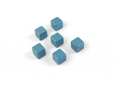 Magneet Magic Cube Medium kleur blauw - set van 6 supersterke kubus magneten