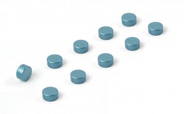 Magneet Steely - set van 10 stuks - kleur blauw metallic