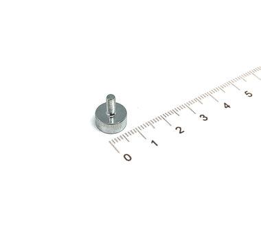 Neodymium Potmagneet 10 x 4,5 mm met M3 buitendraad 2,5 KG gegalvaniseerd