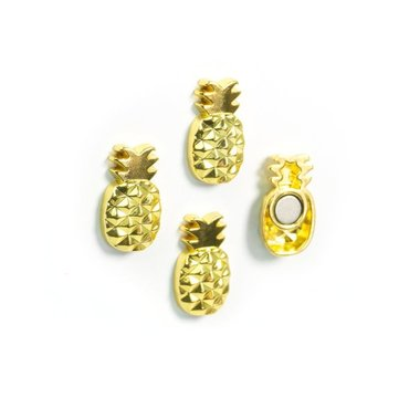 Goudkleurige ananas magneten van metaal - set van 4 stuks