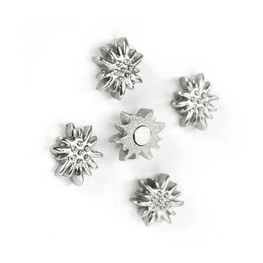 Edelweiss magneten van metaal - set 5 stuks