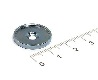 Metalen schijf 17x2 mm met verzonken gat en opstaande rand tegen afschuifkracht