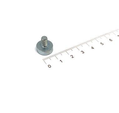 Neodymium Potmagneet 13 x 4,5 mm met M5 buitendraad 6,0 KG gegalvaniseerd