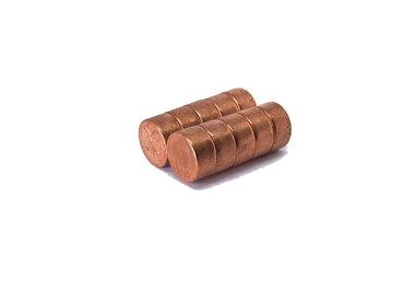 Koperen schijfmagneten neodymium N45 12x6 mm - set 10 stuks