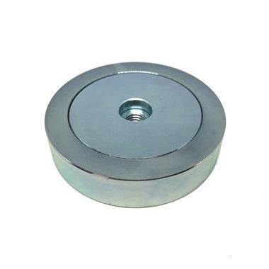 Neodymium Potmagneet 80 mm M10 binnendraad 178 KG gegalvaniseerd