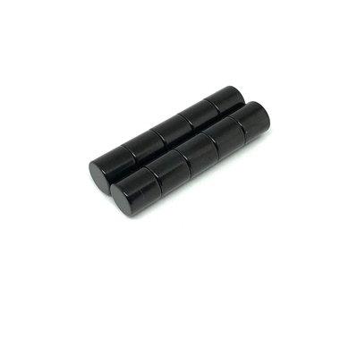Neodymium schijfmagneten 8x8 mm kleur Zwart - set van 10 stuks
