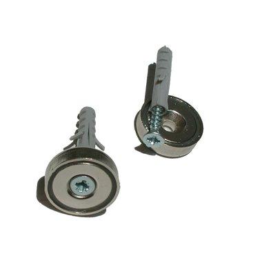 Potmagneet 20 mm met verzonken gat, schroef en muurplug kleefkracht 7 KG
