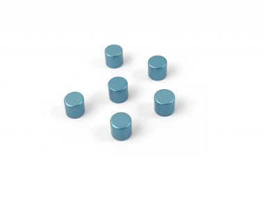 Supersterke, blauwe cilindermagneten 'Bolt' - set van 6 stuks