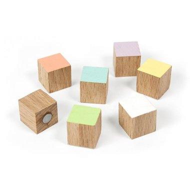 Houten blokjes magneten Timber - set van 7 stuks