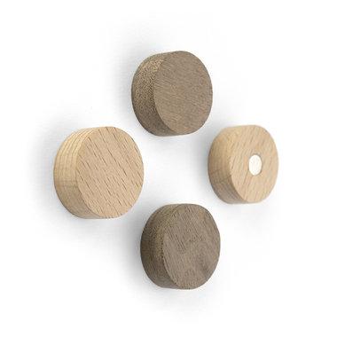 Wood Round magneten - set van 4 stuks