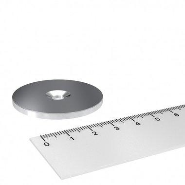 Metalen schijf 42x3 mm met verzonken gat als basis voor magneten