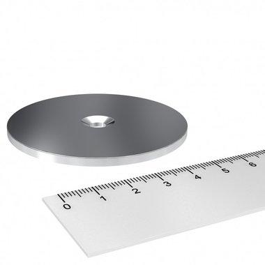 Metalen schijf 65x3 mm met verzonken gat als basis voor magneten
