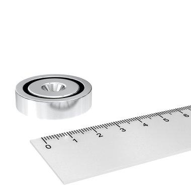 Neodymium Potmagneet 32 mm verzonken gat 28 KG vernikkeld
