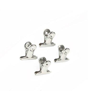 Clip magneten Graffa - set van 4 verchroomde metalen magneten