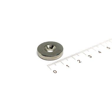 20 x 4 mm N45  vernikkeld met verzonken schroefgat