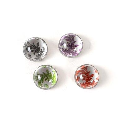 Ornament magneten van glas - set van 4 stuks