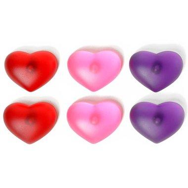 Mooie gekleurde harten magneten - set van 6 stuks
