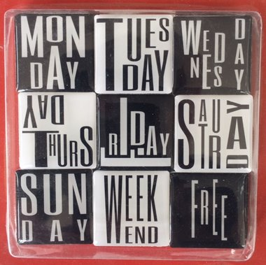 Engelse dagen van de week magneten - set van 9 stuks