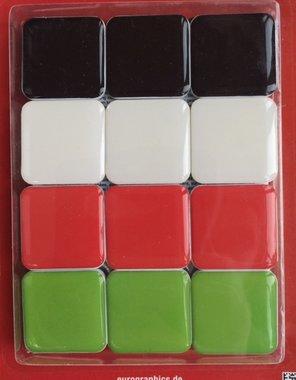 Magneten 'colour' - set van 12 stuks