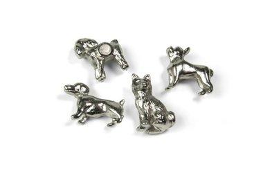 Metalen Honden magneten Trendform - set van 4 stuks