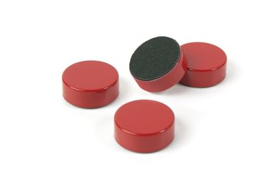 Ronde metalen magneten Disk - rood en extra sterke magneten set van 4 stuks