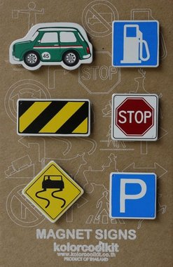 Magneet Cars & Signs, Mini Cooper green - set van 6 metalen magneten