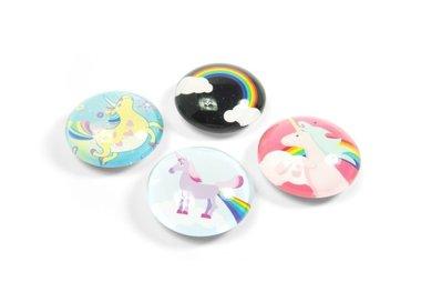 Unicorn Magneten Eye - set van 4 glazen eenhoorn magneten