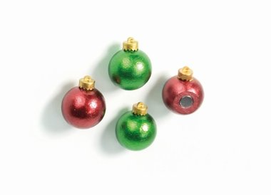 Kerstbal magneten 'XMAS Balls' - set van 4 stuks