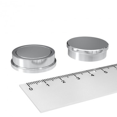 RVS kantoormagneet set 30x9 mm - set van 5 stuks