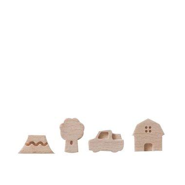 Small Ville Magneten Country - set van 4 houten magneten