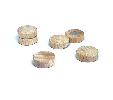 Sterke houten magneetschijfjes 25 mm - set van 6 stuks