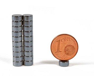 Sterke neodymium schijfmagneetjes 6x3 mm Antraciet verchroomd - set van 20 stuks