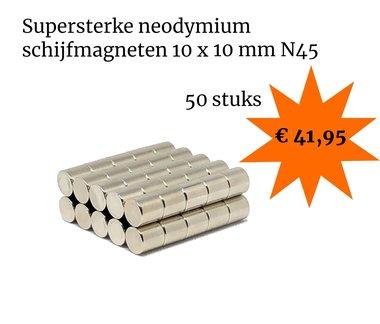 Voordeelset 50 stuks neodymium schijfmagneten 10 x 10 mm N45