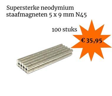 Voordeelset 100 stuks neodymium staafmagneten 5 x 9 mm N45