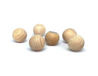 Sterke houten magneetballen 20 mm - set van 6 stuks