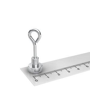 neodymium potmagneet met oog 12 mm