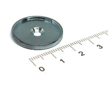 Metalen schijf 21 mm met rand  en schroefgat