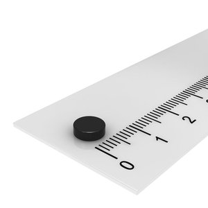 neodymium schijfmagneet 6x2 mm zwart epoxy