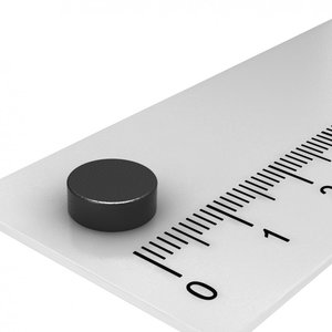 Zwarte schijfmagneet neodymium 8x3 mm N45
