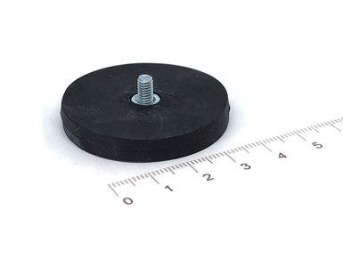 Rubberen pot magneet 43 mm diameter met draadstift