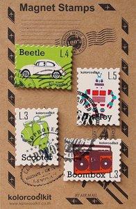 Metalen postzegel magneten met retro afbeeldingen